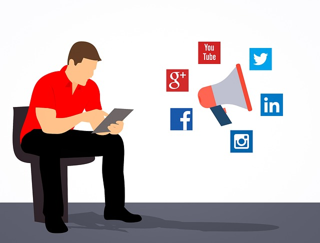 Man shearing posts on social networking sites