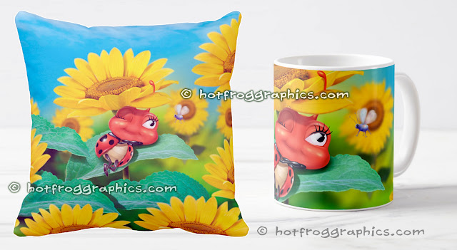 Cushion and ceramic mug with small ladybug sleeping on a sunflower