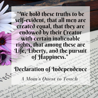 """Quote from the Declaration of Independence on a photo of the Declaration; """"we all these truths..."""""""