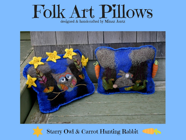 Starry Owl & Carrot Hunting Rabbit designer pillows by Minaz Jantz
