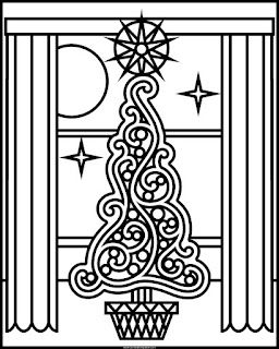 Printable holiday tree to color in jpg and transparent png format #Christmas #coloringpage #Holidays