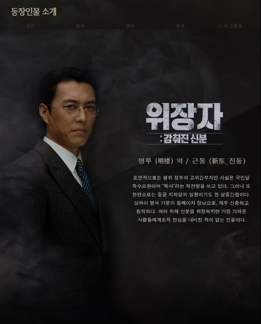 Korean promo stills of Disguiser, a Chinese spy thriller in 1940s - Jin Dong