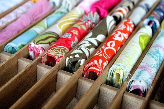 Use a cassette tape organizer to store fabric