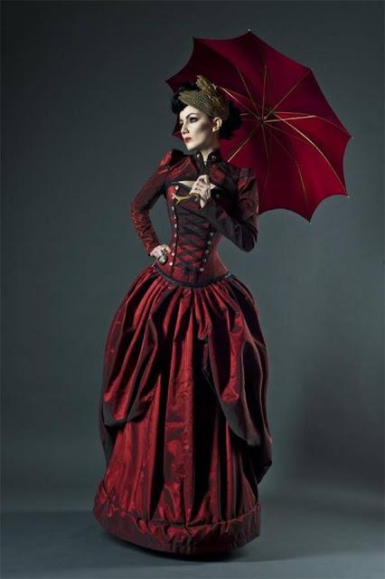 womens vicorian clothing red corset dress umbrella fascinator