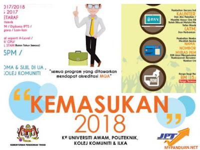 Permohonan UPU Ke UA/IPTA/Politeknik/ILKA Sesi 2018/2019
