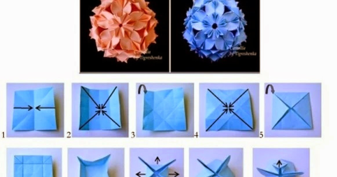 Modular: free diagrams instructing you how to fold unit origami models. | 611x1163