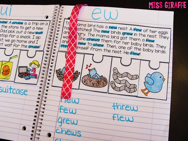 Use a ribbon to bookmark phonics interactive notebooks and other great ideas