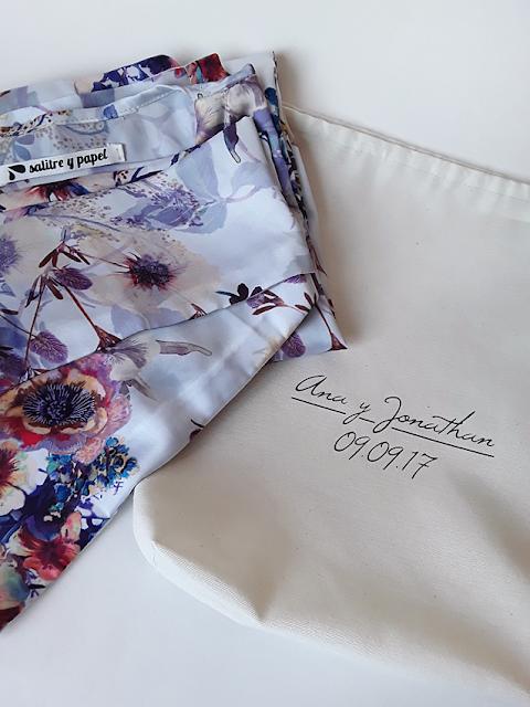 Kimono hecho a mano para boda con bolsa