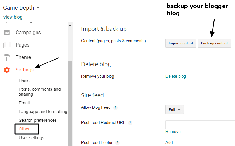 backup blogger blog
