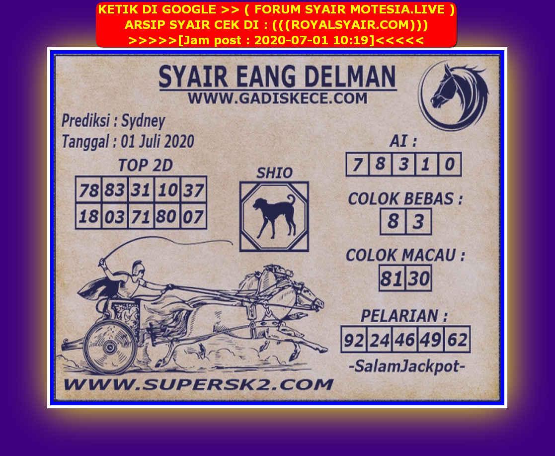 Kode syair Sydney Rabu 1 Juli 2020 185