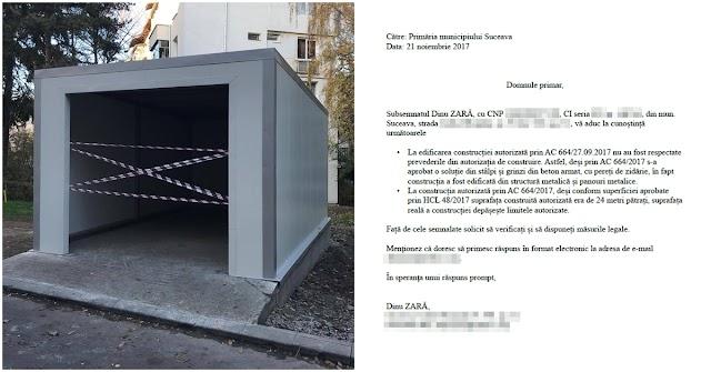 Garajul hidos din centrul Sucevei încalcă flagrant autorizația de construire. Am sesizat autoritățile!