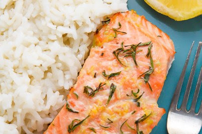 LEMON, GARLIC, AND THYME BAKED SALMON