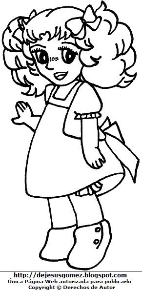 Dibujo de Candy niña con vestido para colorear pintar imprimir. Dibujo de Candy de Jesus Gómez