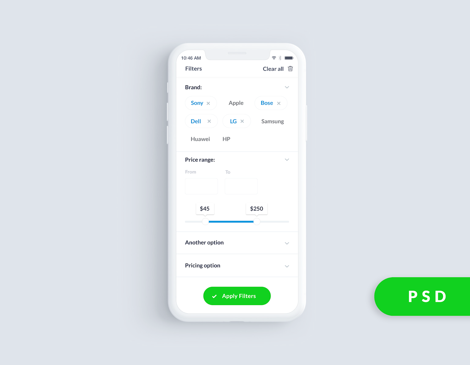 Filters UI Design Idea For Android And iOS App