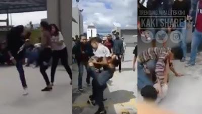 """""""Dah macam tengok ayam laga"""" - Video 2 gadis remaja bertumbuk di Ipoh Parade macam pesta jadi viral"""
