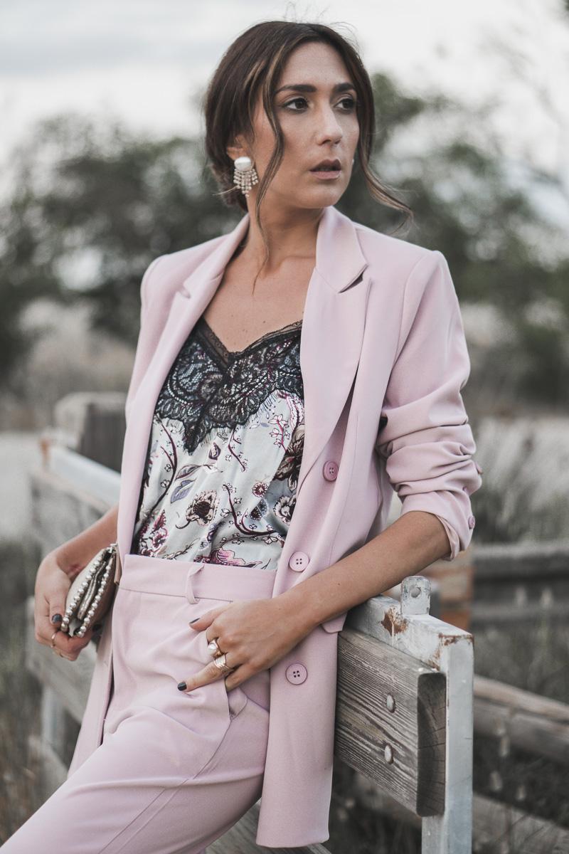 look boda bautizo comunion - traje rosa