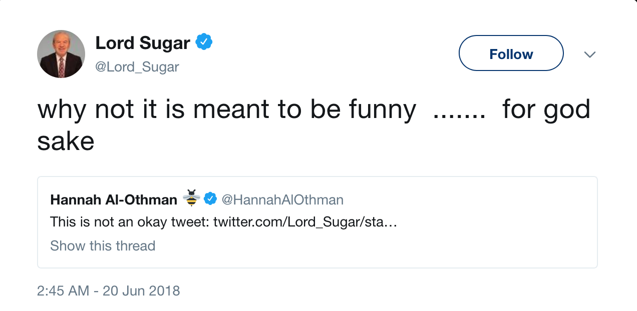no sugar racism Alan sugar, the star of the bbc's british version of 'the apprentice,' has been widely criticized for a tweet, many are calling racist, that compared senegal's world cup soccer team to sellers.