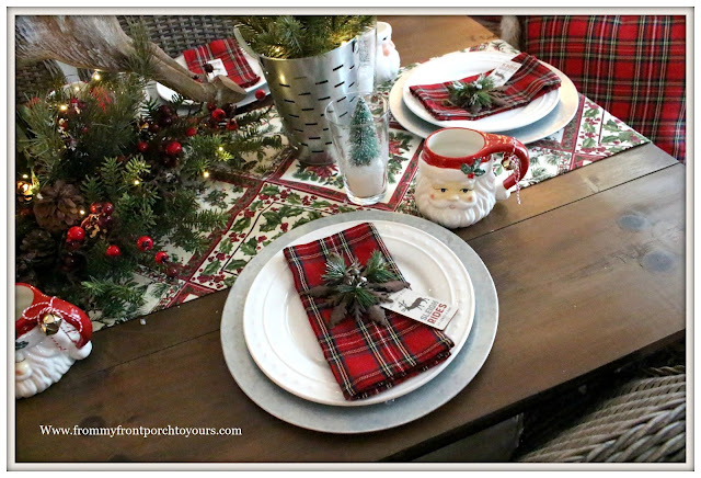 French Country Farmhouse Christmas Dining Room-Red Plaid Napkins-Christmas Tree Farm Theme-From My Front Porch To Yours