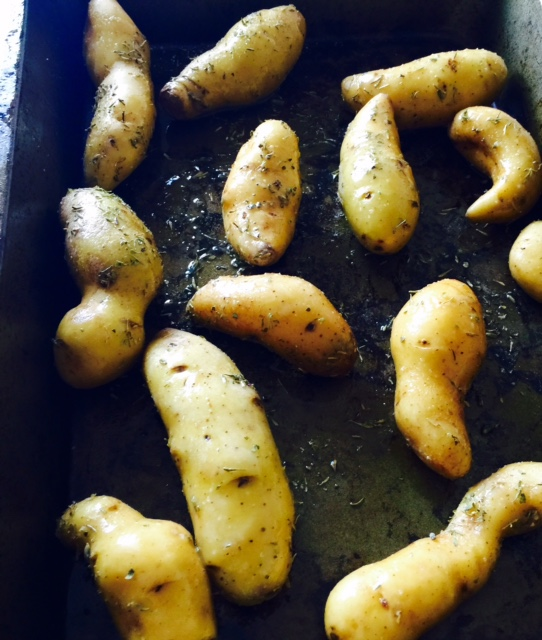 Roasted banana fingerling potatoes