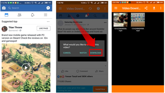cara save video di facebook di android