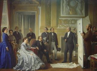 Visconti et Lefuel présentent les plans du nouveau Louvre à Napoléon et à Eugénie de Montijo