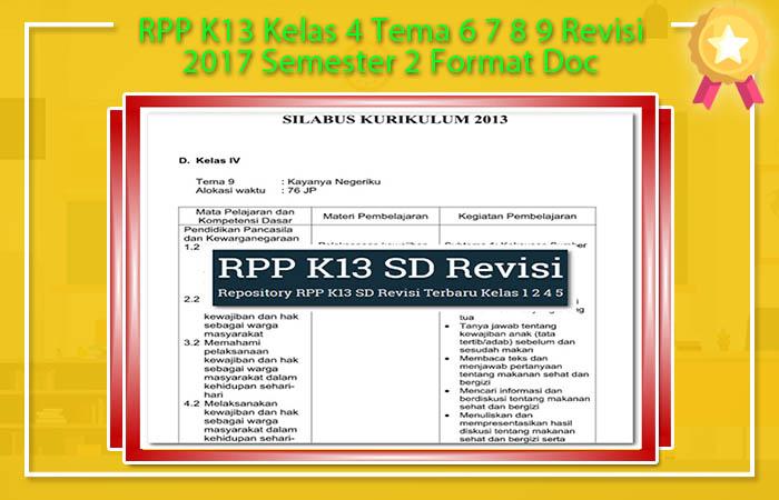 RPP K13 Kelas 4 Tema 6 7 8 9 Revisi