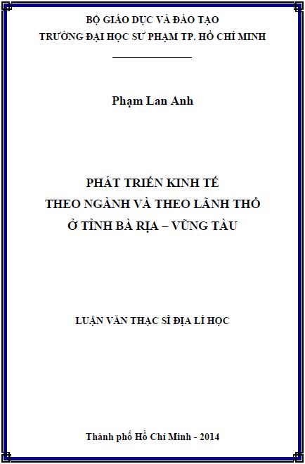Phát triển kinh tế theo ngành và theo lãnh thổ ở tỉnh Bà Rịa – Vũng Tàu