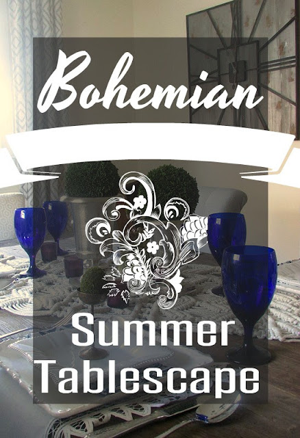 Bohemian theme decor on the dining table for summer entertaining.