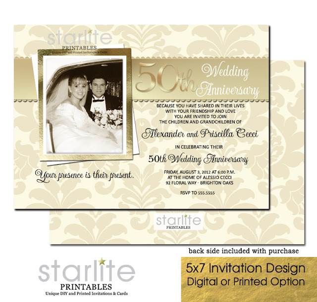 http://starliteprintables.indiemade.com/product/gold-50th-wedding-anniversary-photo-invitation-vintage-style-damask-golden-50