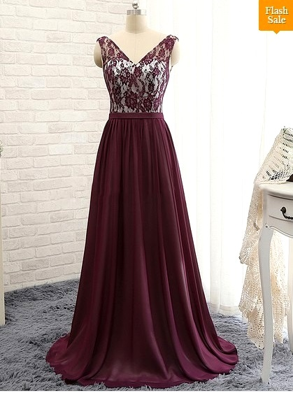 Coolest V-neck Chiffon with Lace Sweep Train Prom Dresses
