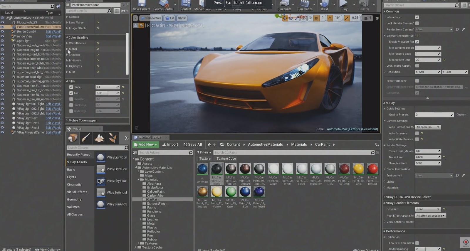 V-Ray for Unreal - Viewport raytracing and Unreal materials