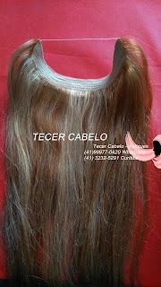 Aplique de cabelo humano castanho com loiro 68 cm