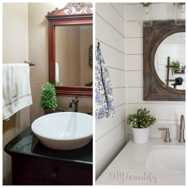 before and after farmhouse style guest bath