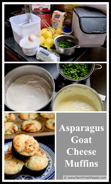 collage image of how to make savory asparagus goat cheese muffins