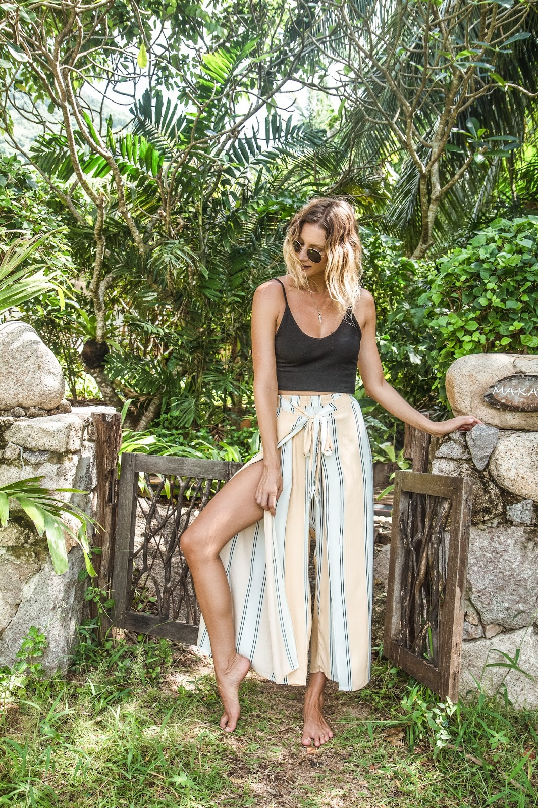 wearing faithfull the brand pants in koh tao, thailand