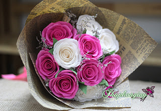 hoa hồng phớt phối trắng bằng giấy 18 bông