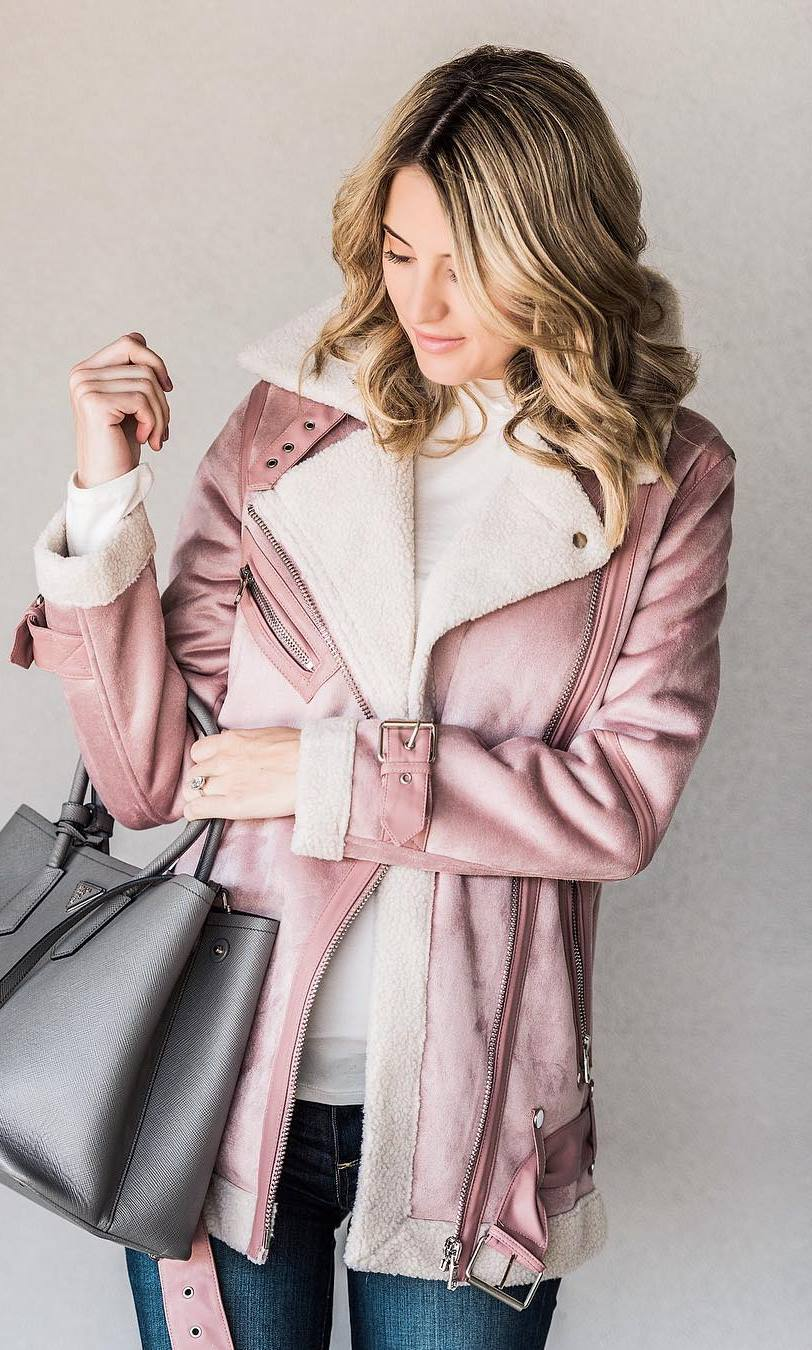 what to wear with a pink jacket : grey bag + sweater + skinnies