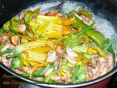Ginataang Hipon Tabang at Bulaklak ng Kalabasa - Cooking Procedure