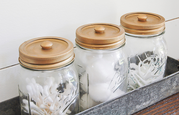 Stylish mason jar storage using Rub n' Buff
