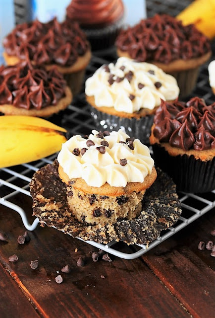 Banana Chocolate Chip Cupcakes topped with chocolate or cream cheese frosting are a tasty new way to enjoy those over-ripe bananas.