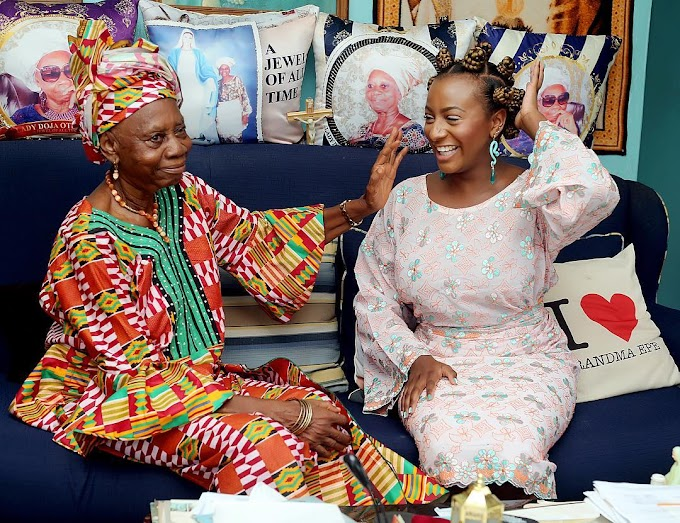 DJ Cuppy Shares Cheeky Photo with Grandmum