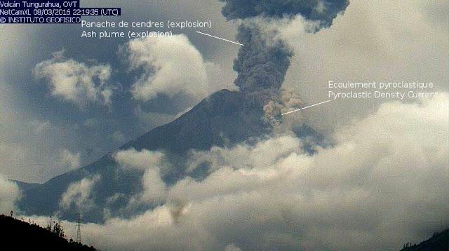 Explosion et écoulement pyroclastique sur le volcan Tungurahua, 08 mars 2016