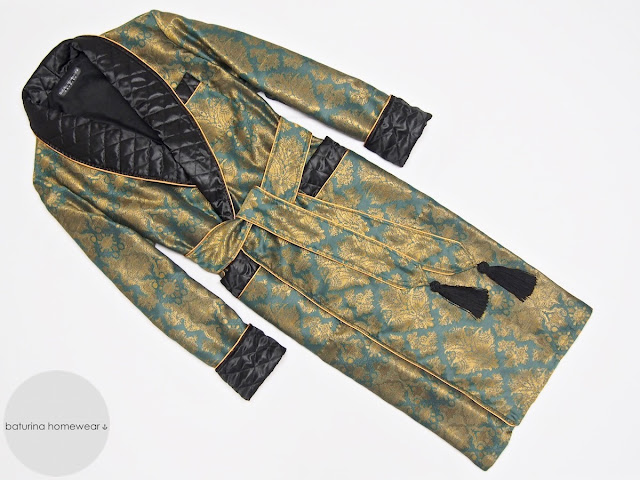 Men's silk dressing gown quilted long green black gold