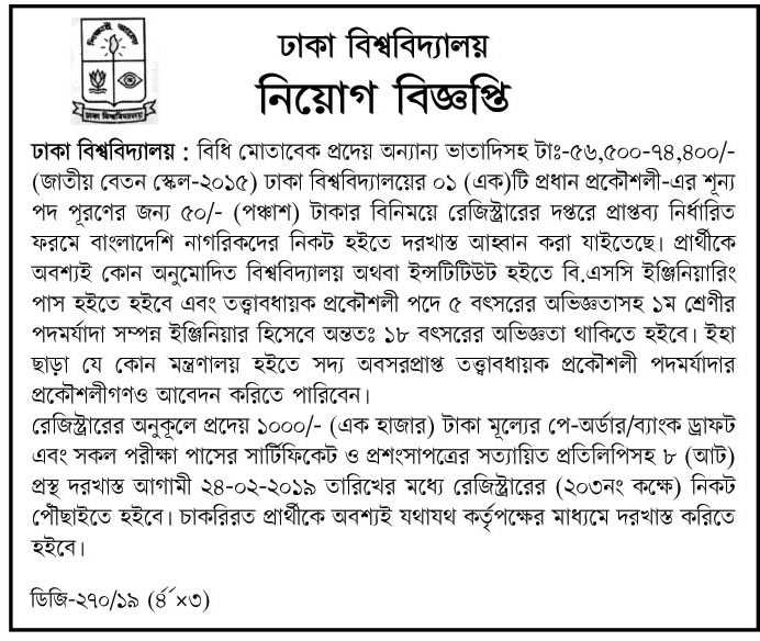University of Dhaka Job Circular 2019