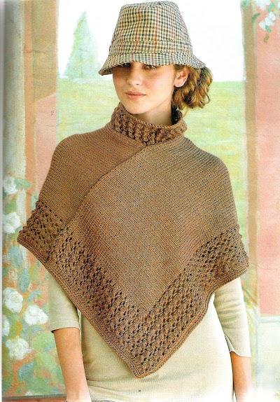 Poncho onda folk urbano crochet y tricot