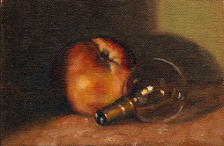 Oil painting of a small incandescent light bulb beside a nectarine.