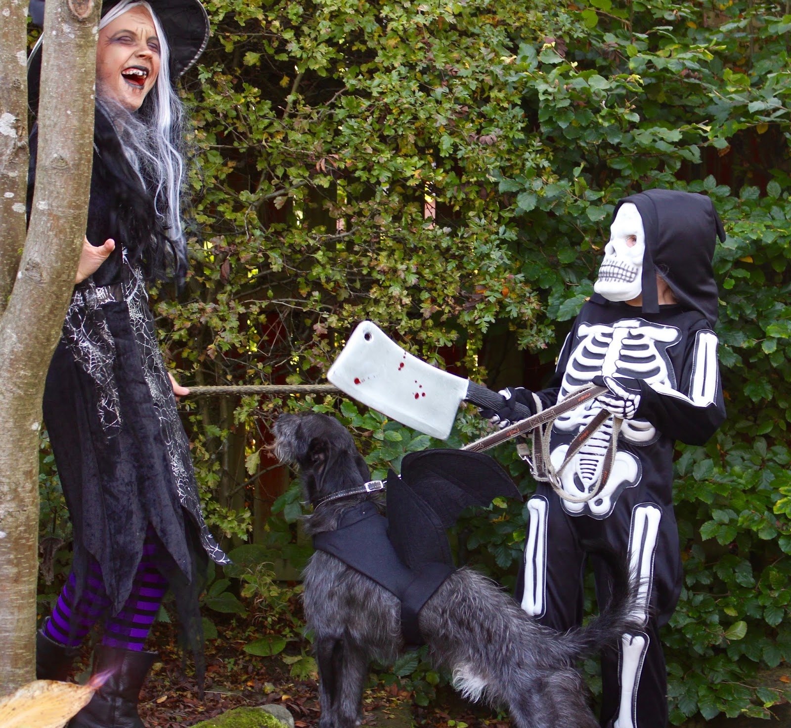 Children having fun with their pet dog at halloween.