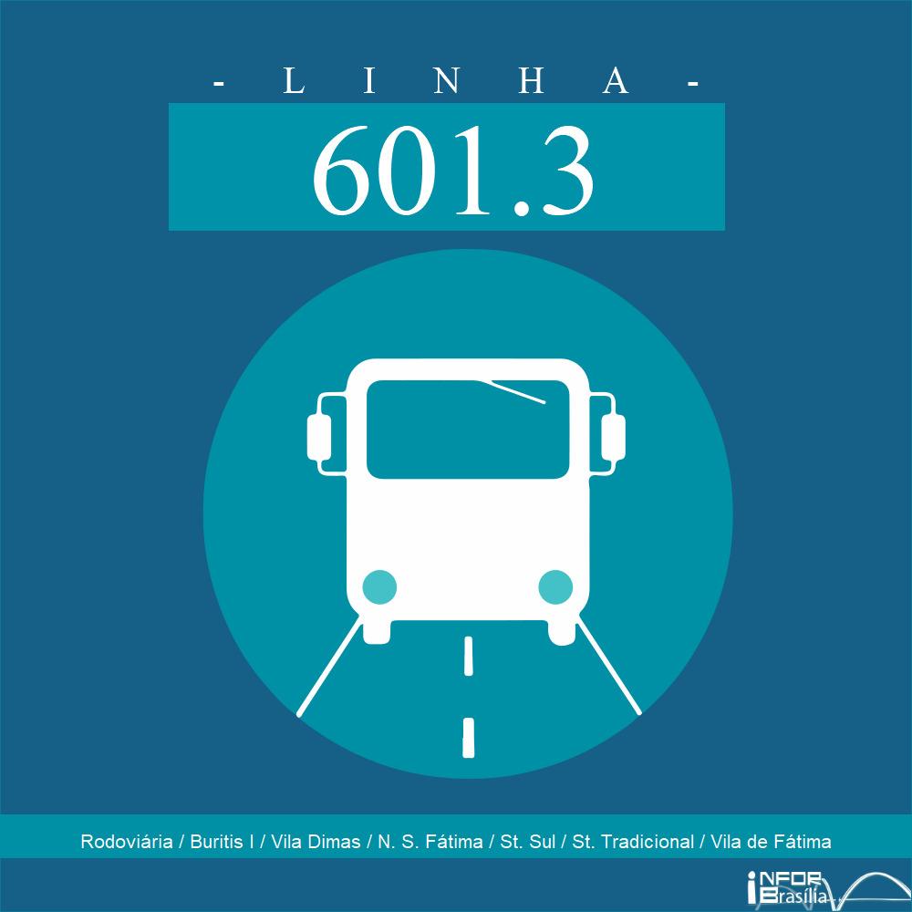 Horário de ônibus e itinerário 601.3 - Rodoviária / Buritis I / Vila Dimas / N. S. Fátima / St. Sul / St. Tradicional / Vila de Fátima