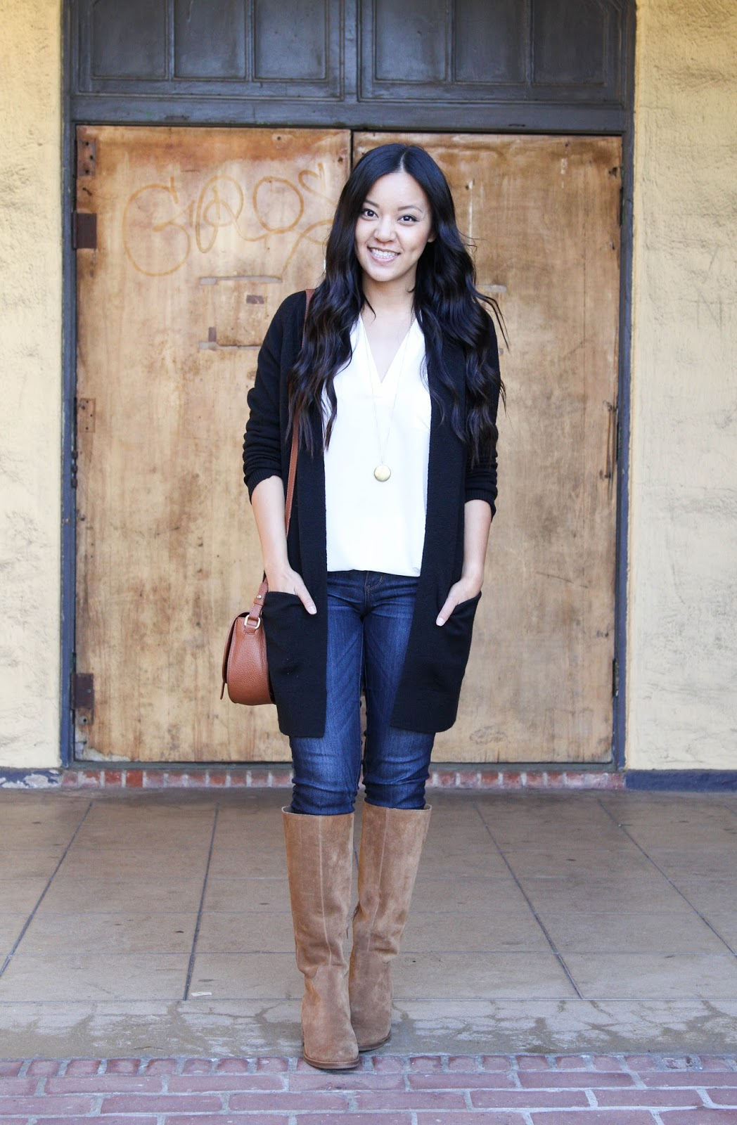 Black Cardigan + White Blouse + Pendant Necklace + Skinnies + Riding Boots