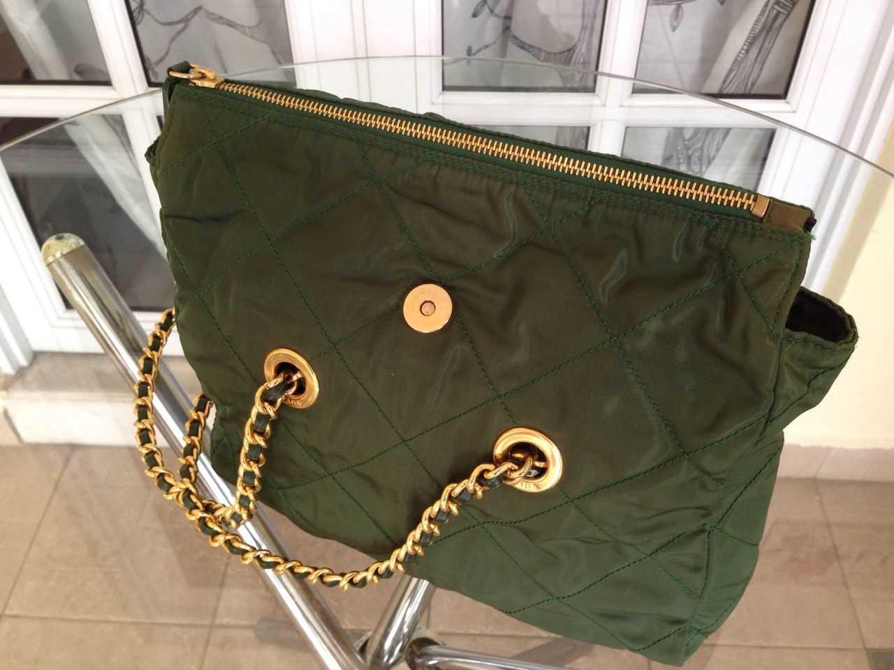 c4318dda29 Truly Vintage  Authentic Prada Quilted Green Nylon Chain Bag